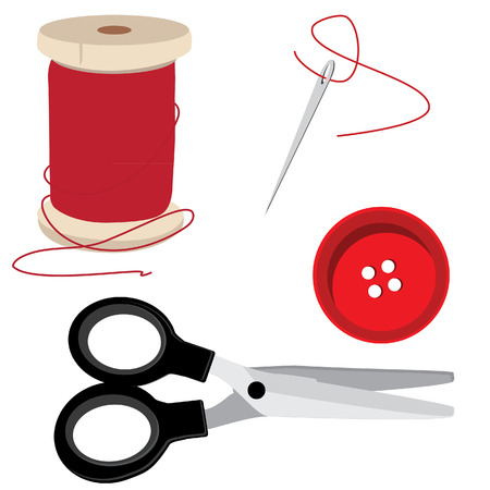 bobbin: Tailor icon set- red thread bobbin, needle and thread, scissors and round button. Sewing item vector