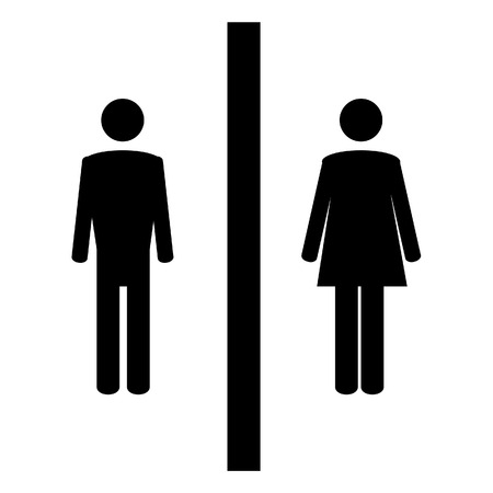 man and women wc sign: Toilet sign with black woman and man symbols. WC sign. Restroom