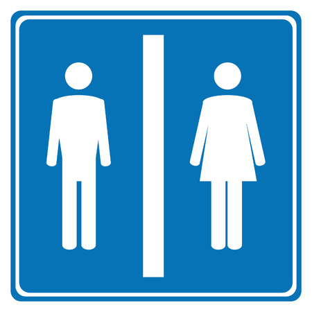 wc sign: Blue toilet sign with white woman and man symbols. WC sign. Restroom Illustration
