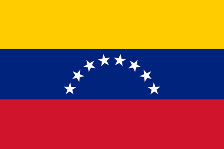 Vector illustration of venezuela flag. Rectangular national flag of venezuela. Venezuelian flag Ilustracja