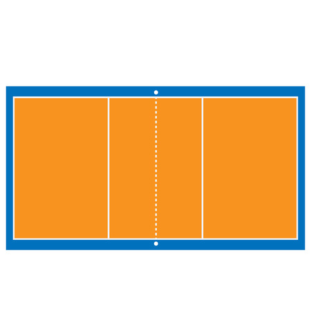 屋内のオレンジと青のバレーボール コート ベクトル分離