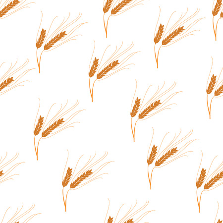 barley field: Seamless pattern ears of wheat. Vector illustration of wheat field. Barley or Rye vector visual graphic icons, ideal for bread packaging, beer labels