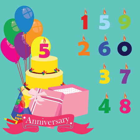 5th: Anniversary background with icons and elements. Birthday cake, candles numbers, balloons, gift box, party hat and noisemaker. Vector illustration of anniversary celebration. 5th birthday. Fifth birthday anniversary celebration design Illustration