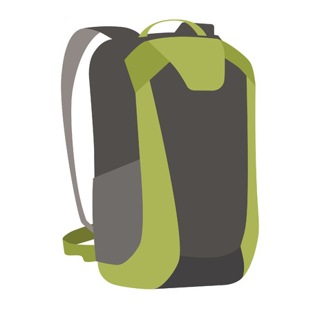 mochila de viaje: aislado verde mochila vector viajar. equipo de viaje. cosas tavellers
