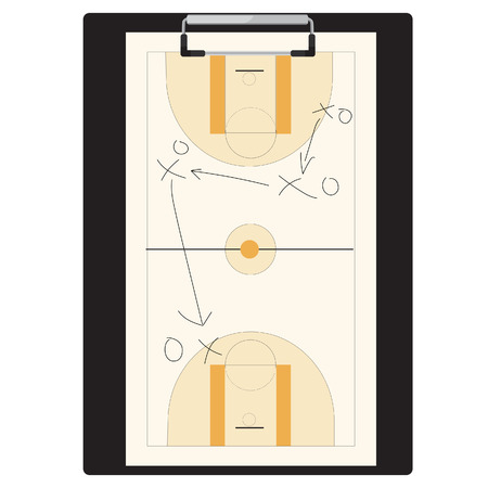 tactic: Vector illustration of basketball tactic on clipboard. Basketball tactic board. Writing a basketball game strategy on a blackboard. Tactic plan