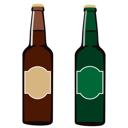 glass bottle: Green and brown full beer glass bottle with label or sticker beer vector isolated, alcohol Illustration