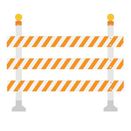 blocco stradale: Arancione e bianco, tripla, barriera della strada strisce, barricata. Blocco stradale con lampada di segnali vettoriali isolato. Spia o la luce