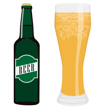green beer bottle: Vector illustration of green beer bottle with label or sticker and full beer glass with cold light beer.