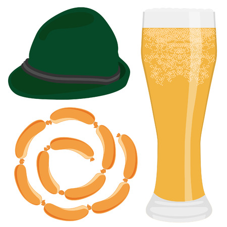 tyrolean: Vector illustration glass of cold beer, green tyrolean hat and sausage chain. Bavarian beer menu. Oktoberfest symbols