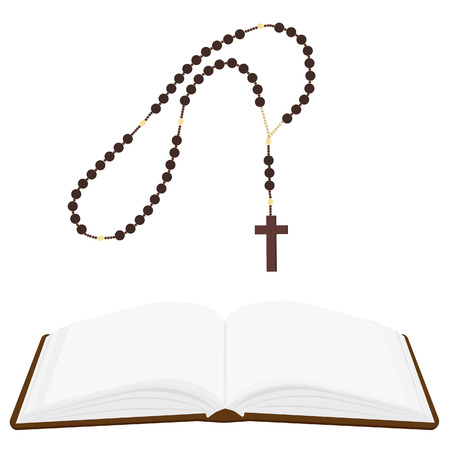 rosary: Brown opened Holy Bible and rosary beads with cross vector isolated