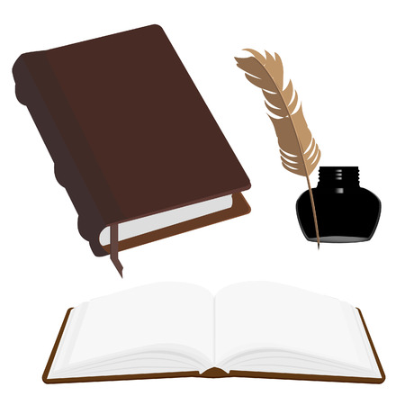 closed book: Brown old leather book with bookmark and black inkwell with feather vector set. Opened and closed book
