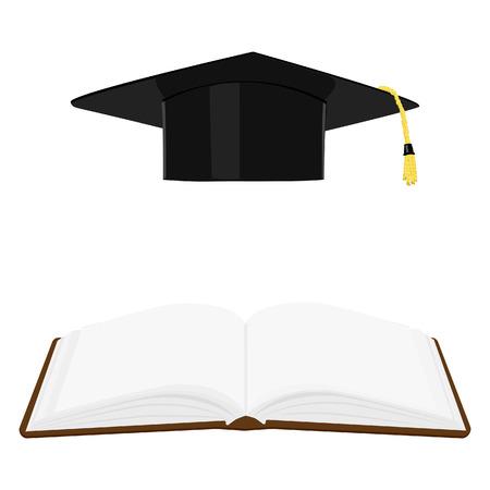 gorro de graduacion: Libro abierto y gorra o sombrero de graduaci�n. S�mbolos Educaci�n.