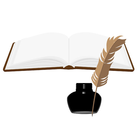 inkwell: Brown old leather book with bookmark and black inkwell with feather vector set. Opened book Illustration