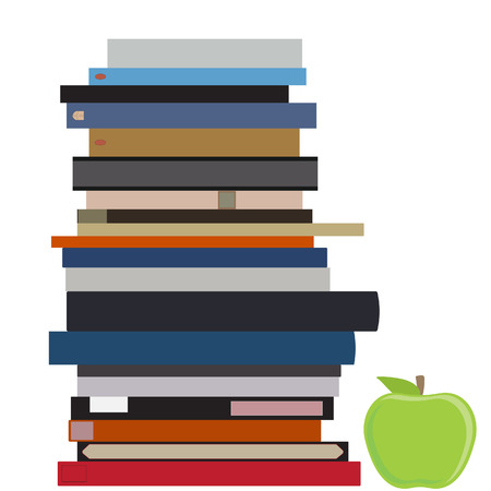 green apple: Vector illustration book stack and green apple. Pile of books. Education symbol Vectores