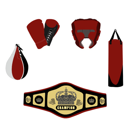 boxing glove: Red boxing set with boxing glove, golden bet, jumping rope and boxing helmet, sport equipment, boxing equipment Illustration