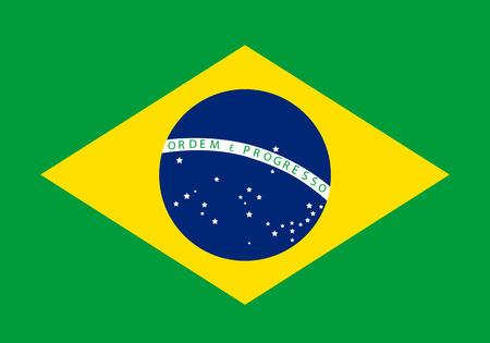 Vector illustratie van de vlag van Brazilië. Rechthoekige nationale vlag van Brazilië. Braziliaanse vlag Stock Illustratie