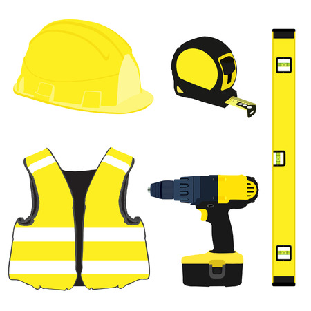 safety equipment: Yellow building set with bubble level, building helmet, vest, tape measure, protective workwear and handrill