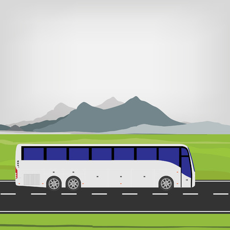 tourist bus: White tourist bus driving on the road vector illustration. Mountain landscape or background. Bus travel road. Bus highway