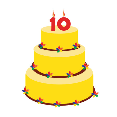 number ten: Birthday cake with birthday candle number ten on top. Tenth birthday cake. Illustration
