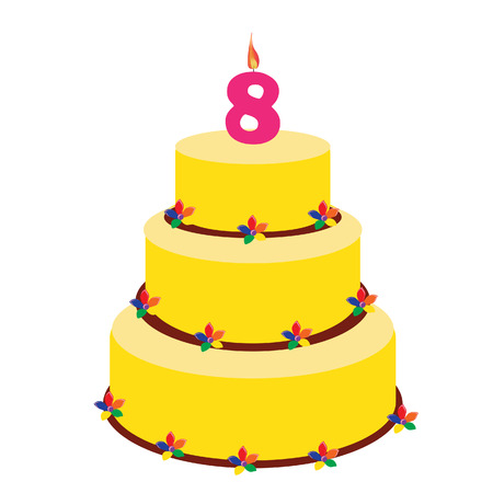 eighth: Birthday cake with birthday candle number eight on top. Eighth birthday cake. Illustration