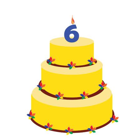 sixth birthday: Birthday cake with birthday candle number six on top. Sixth birthday cake.