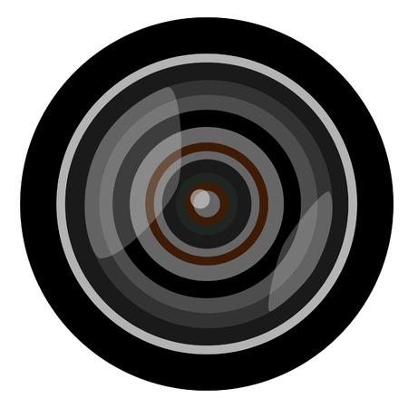 objective: Professional camera lens vector illustration. Photographic objective. Video camera lens. Zoom lens Illustration