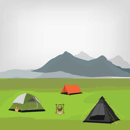 camping site: Vector illustration of family camping with three camping tents and campfire. Summer camp. Mountain background, landscape. Camp site