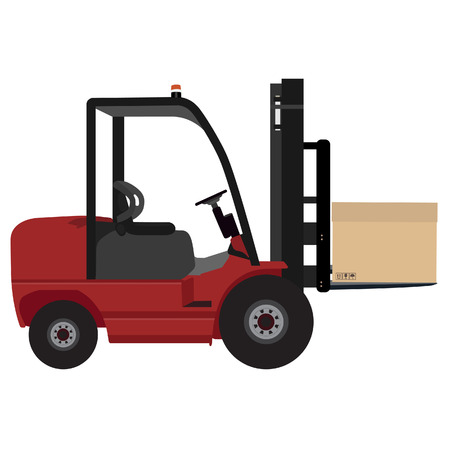 distribution picking up: Loader car with carton box vector illustration. Delivery service icon. Heavy cargo  delivering Illustration