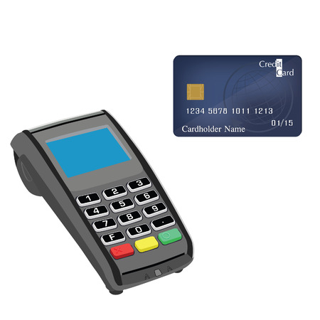 Credit card machine and credit card vector illustration. Credit card machine. Credit card scanner. Bank system