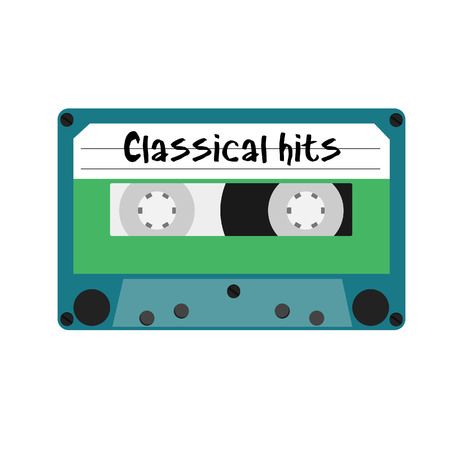 hits: Blue cassette with text classical hits vector illustration. Vintage cassette