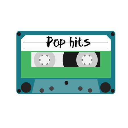 magnetite: Blue cassette with text pop hits vector illustration. Vintage cassette