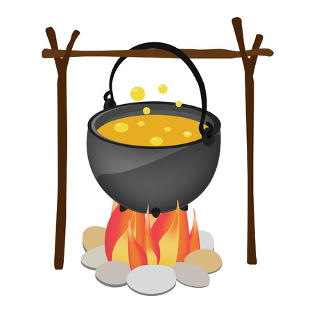 soup: Magic kettle with yellow poison, spoon hanging over fire vector illustration. Cauldron. Pot vector