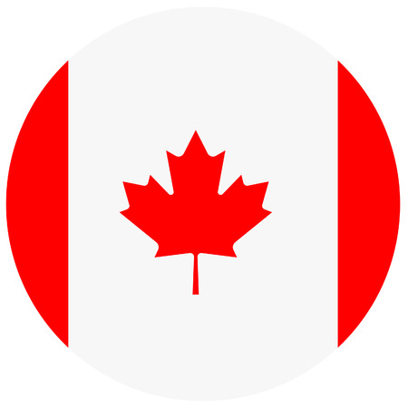 canadian flag: Vector illustration of canada flag. Round national flag of canada. Canadian flag
