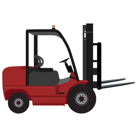 distribution picking up: Loader car for carton box delivering vector illustration. Delivery service icon