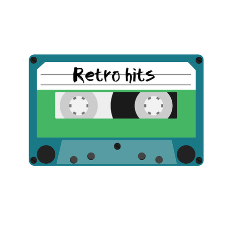 hits: Blue cassette tape with retro hits label vector illustration. Vintage cassete Illustration