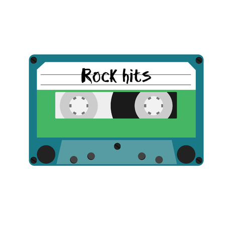 hits: Blue cassette tape with rock hits label vector illustration. Vintage cassete Illustration