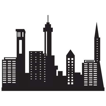 city at night: Vector illustration city skyline night. Black city silhouette. City icon Illustration