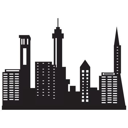 silhouette maison: Vector illustration horizon de la ville la nuit. Noir silhouette de la ville. Ville icône Illustration
