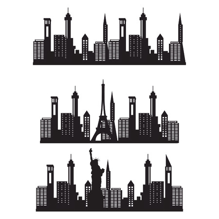 Vector Illustration City Skyline Night Black Silhouette Icon Set Paris