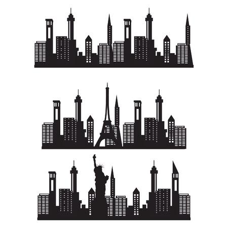 new york city skyline: Vector illustration city skyline night. Black city silhouette. City vector icon set. Paris city skyline. New York city skyline