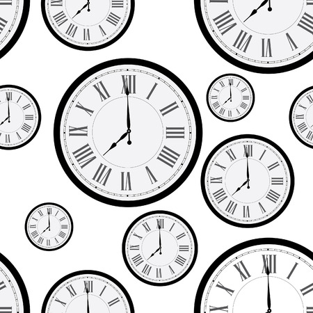 old clock: Seamless pattern with wall clock. Clock on wall. Old clock