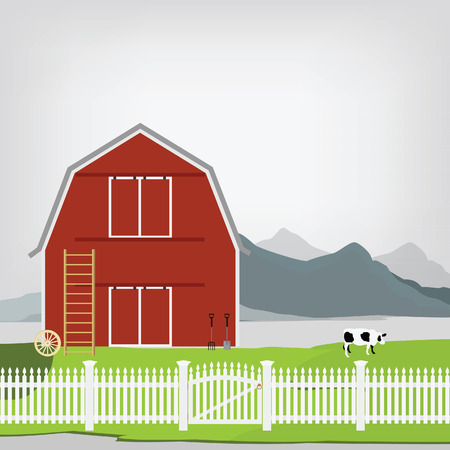 grazing: Vector illustration of red old barn. Mountain landscape. Rakes and pitchforks, stairs. Grazing cow. Country side