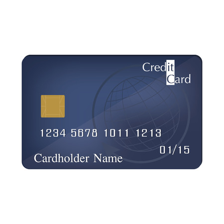 plastic card: Vector illustration of realistic blue credit card front view. Plastic card. Debit card. Credit card icon