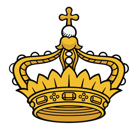 king: Golden queen crown vector isolated, medieval crown, king crown, princess crown Illustration