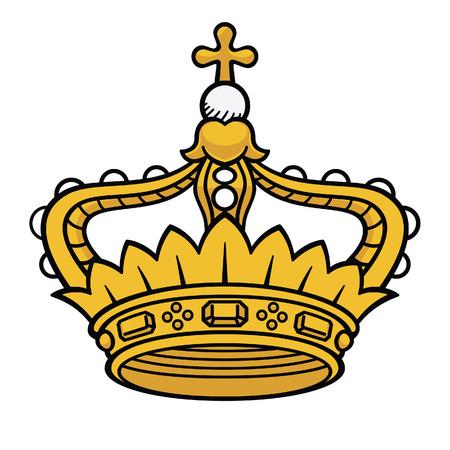 corona real: Oro vector reina corona aislado, corona medieval, corona del rey, corona de la princesa