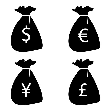 moneybag: Set of money bags silhouettes with currency symbols euro, dollar, pound and yen