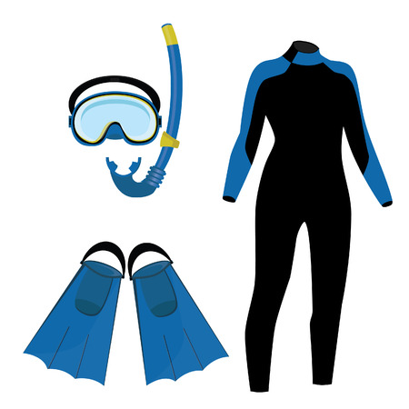 Diving equipment vector icon set with blue diving mask and snorkel or scuba, flippers and diving suit. Diving costume
