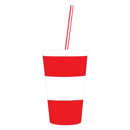 Refreshments: Vector illustration of  disposable cup for beverages with straw. Red and white drink cup Illustration