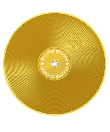 primer lugar: Ilustración del vector del premio de la música de vinilo dorado. Disco de oro. Disco de Oro. Primer lugar