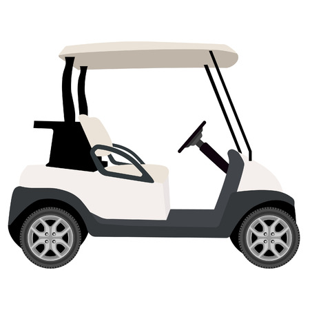 golf clubs: Vector illustration of white golf cart. Golf car